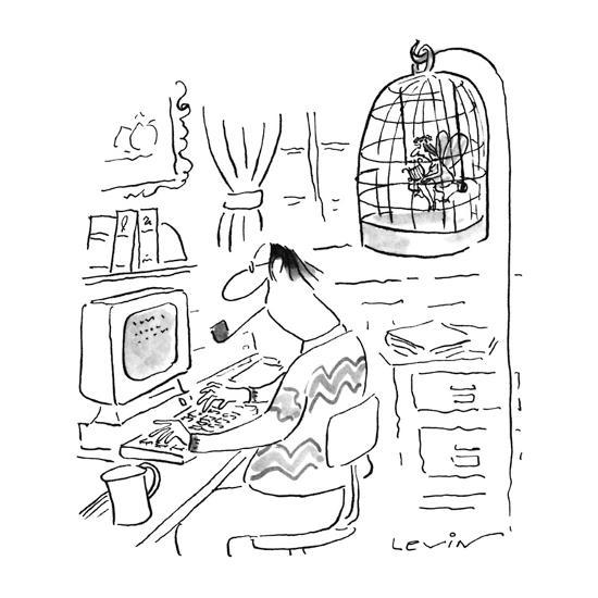 Writer's muse is trapped in bird cage as he works at computer. - New Yorker Cartoon-Arnie Levin-Premium Giclee Print