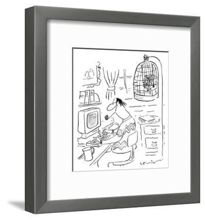 Writer's muse is trapped in bird cage as he works at computer. - New Yorker Cartoon-Arnie Levin-Framed Premium Giclee Print