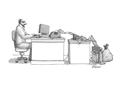Writer typing into computer; paper is coming out of printer and going into? - New Yorker Cartoon-J.P. Rini-Premium Giclee Print