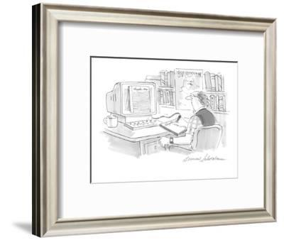 Writer working on computer uses a electronic tablet to handwrite his words? - Cartoon-Bernard Schoenbaum-Framed Premium Giclee Print