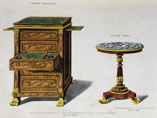 Writing Desk and Breakfast Coffee Table by George Smith from Cabinet Maker and Upholsterer's Guide--Giclee Print