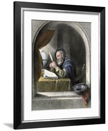 Writing Master Using a Quill Pen--Framed Giclee Print