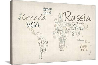 Writing Text Map of the World Map-Michael Tompsett-Stretched Canvas Print