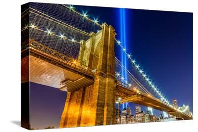 WTC Light over Brooklyn Bridge--Stretched Canvas Print