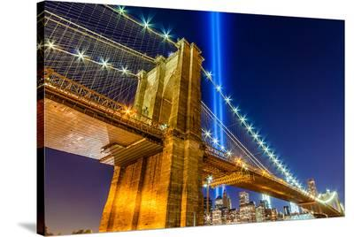 WTC Light over Brooklyn Bridge--Stretched Canvas Print