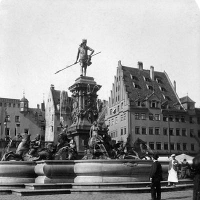 The Neptune Fountain, Nuremberg, Germany, C1900s