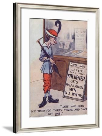 Ww1 Cartoon Propaganda Postcard About Army Recruitment--Framed Giclee Print