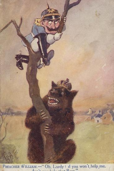 Ww1 Cartoon Propaganda Postcard of Kaiser Wilhelm II Chased Up a Tree by a Bear Symbolising Russia--Giclee Print