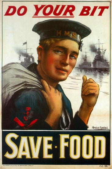 """WW1 Poster Urging You to """"Do Your Bit - Save Food"""" 1917-Maurice Randall-Giclee Print"""