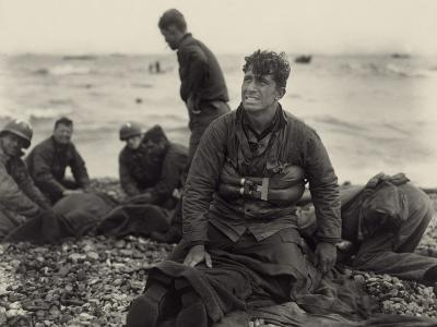 WW2 American Soldiers on Omaha Beach Recovering the Dead after the D-Day, 1944--Photo