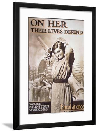 Wwi Poster Encouraging Women Munition Workers, C.1914-18--Framed Giclee Print
