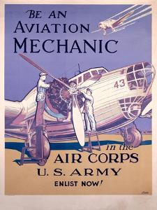 WWII AAF Army Air Corps Aviation Mechanic Poster