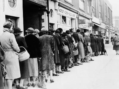 WWII Butcher Shop Line--Photographic Print
