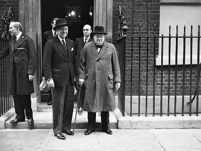 WWII London Churchill and Kennedy--Photographic Print
