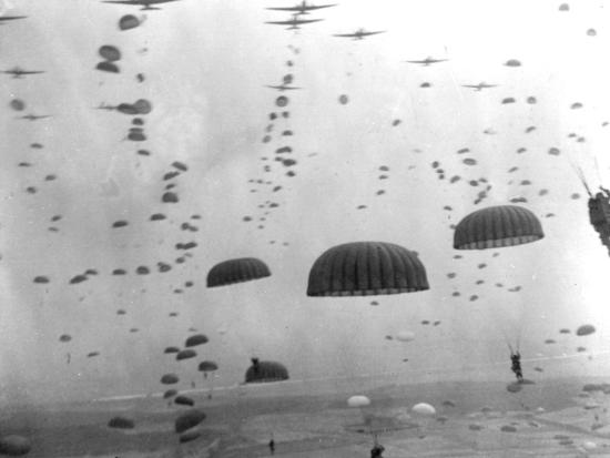 WWII Parachutes over Holland--Photographic Print