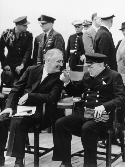 WWII Roosevelt Churchill--Photographic Print
