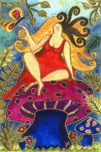 Big Diva Fairy on Mushroom by Wyanne