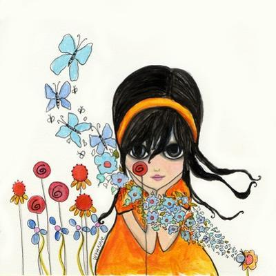 Big Eyed Girl Butterflies and Bees by Wyanne