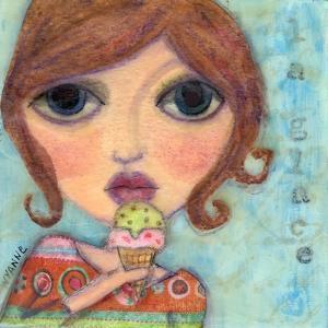 Big Eyed Girl Ice Cream Cone by Wyanne