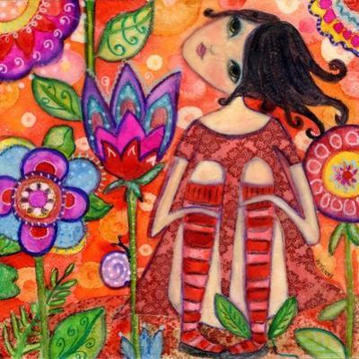 Big Eyed Girl Magic Flower Garden by Wyanne