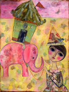 Big Eyed Girl Pink Elephant Circus by Wyanne