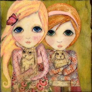 Big Eyed Girl Snuggle Bunnies by Wyanne
