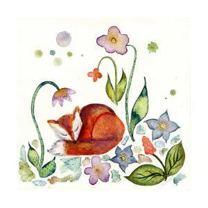 Fox Napping in the Garden by Wyanne