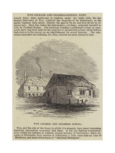 Wye College and Grammar-School, Kent--Giclee Print