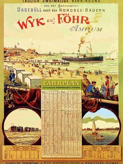 Wyk Auf Fohr', Poster Advertising the Wyk Steam Shipping Company, 1897-German School-Giclee Print