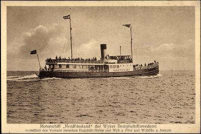 Wyker Dampfschiff Reederei, Motorschiff Nordfriesland--Giclee Print