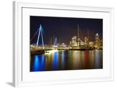 Wynyard Crossing Bridge and Cbd, Auckland Waterfront, North Island, New Zealand-David Wall-Framed Photographic Print