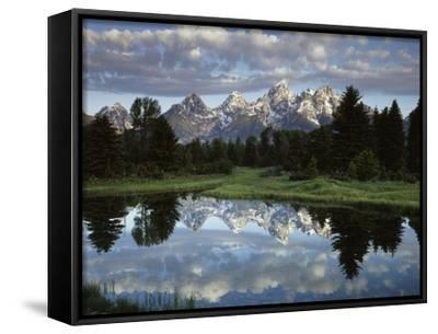 Wyoming, Grand Teton NP, the Grand Tetons and Clouds-Christopher Talbot Frank-Framed Canvas Print