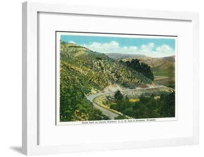 Wyoming, Lincoln Highway View of Eagle Rock East of Evanston-Lantern Press-Framed Art Print