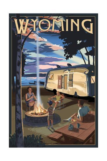Wyoming - Retro Camper and Lake-Lantern Press-Art Print