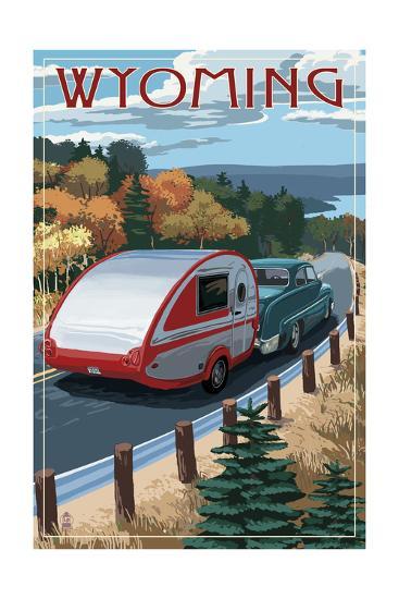 Wyoming - Retro Camper on Road-Lantern Press-Art Print