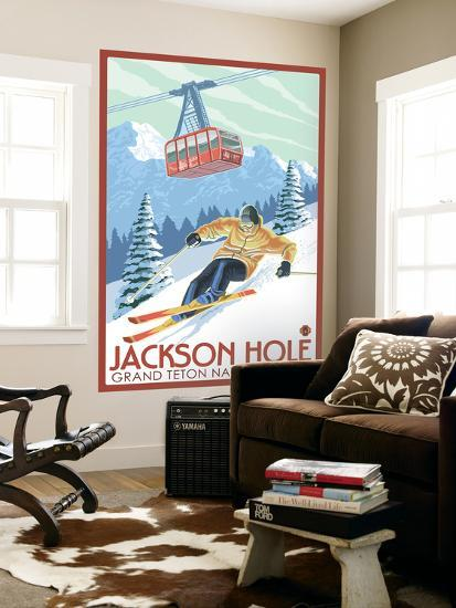 Wyoming Skier and Tram, Jackson Hole-Lantern Press-Wall Mural