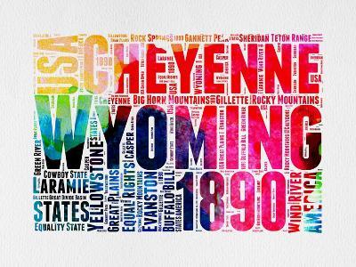 Wyoming Watercolor Word Cloud-NaxArt-Art Print