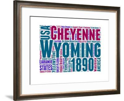Wyoming Word Cloud Map-NaxArt-Framed Art Print