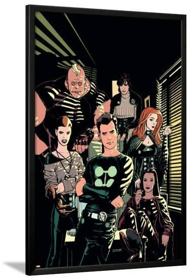 X-Factor No.1 Cover: Madrox, Strong Guy, Wolfsbane, Siryn, Rictor and Monet-Ryan Sook-Lamina Framed Poster