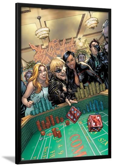 X-Factor No.209 Cover: Longshot, Monet, and Layla Miller Throwing-David Yardin-Lamina Framed Poster