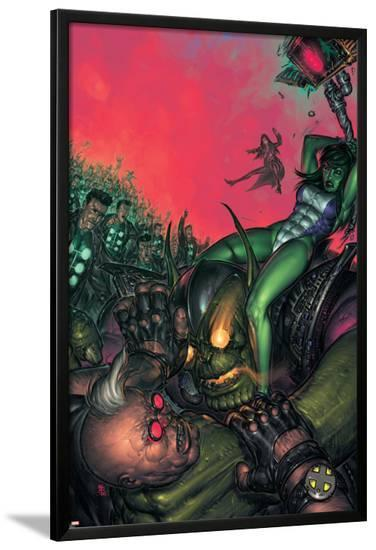 X-Factor No.34 Cover: She-Hulk and Strong Guy Fighting-Boo Cook-Lamina Framed Poster