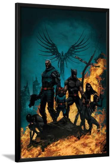 X-Force/Cable: Messiah War No.1 Cover: Wolverine, Cable, Archangel, X-23, Domino and Hope-Kaare Andrews-Lamina Framed Poster