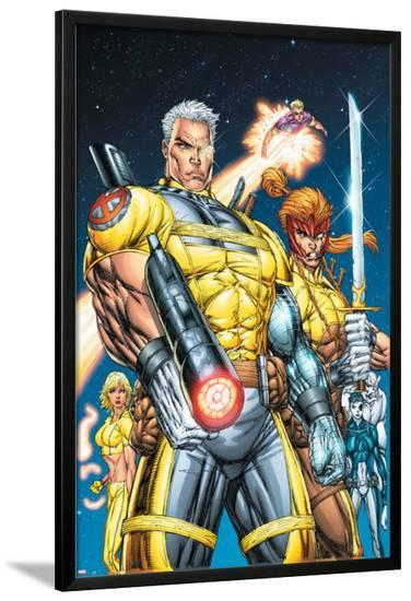 X-Force No.1 Cover: Cable, Shatterstar and Cannonball-Rob Liefeld-Lamina Framed Poster