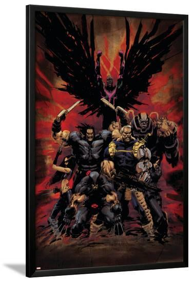 X-Force No.16 Cover: Wolverine, X-23, Cable, Warpath, Apocalypse and Archangel-Kaare Andrews-Lamina Framed Poster