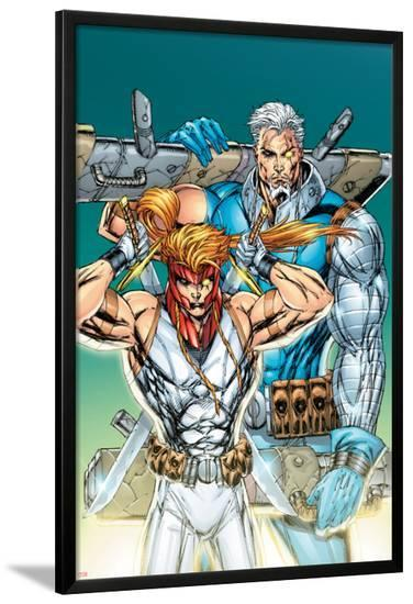 X-Force: Shatterstar No.3 Cover: Shatterstar and Cable Jumping-Marat Mychaels-Lamina Framed Poster