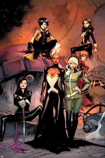 X-Men #1 Cover: Jubilee, Pryde, Kitty, Summers, Rachel, Rogue, Storm, Psylocke-Olivier Coipel-Art Print