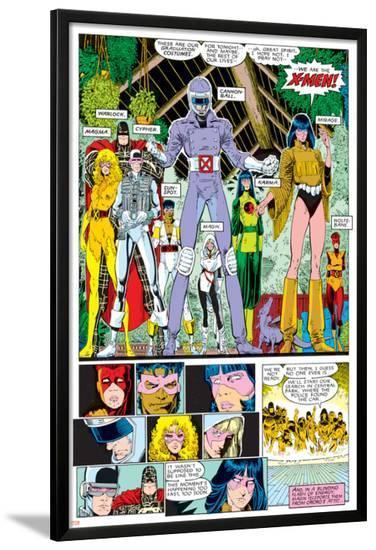 X-Men Annual No.10 Group: Warlock, Sunspot, Cannonball, Cypher, Magma, Magik and New Mutants-Arthur Adams-Lamina Framed Poster