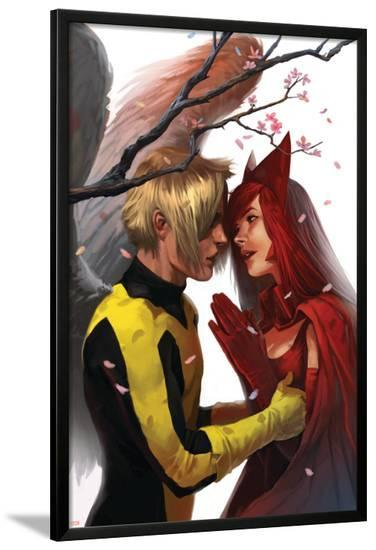 X-Men: First Class No.7 Cover: Angel and Scarlet Witch--Lamina Framed Poster