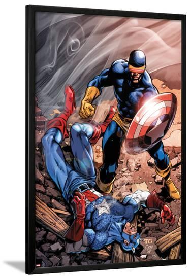 X-Men Forever 2 No.15 Cover: Cyclops and Captain America-Tom Grummett-Lamina Framed Poster