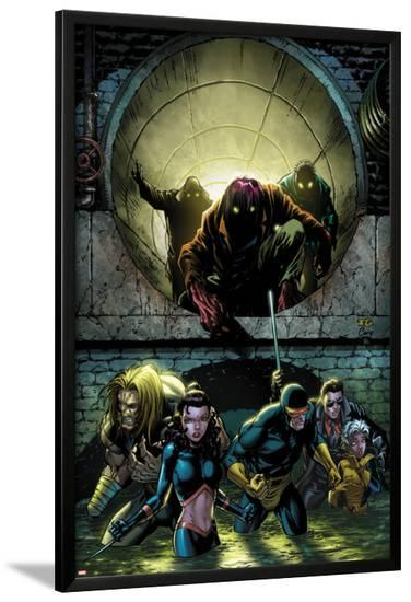 X-Men Forever 2 No.5 Cover: Sabretooth, Kitty Pryde, Cyclops, Storm, and Gambit Walking-Tom Grummett-Lamina Framed Poster